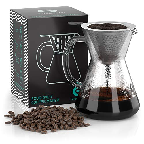Coffee Gator Pour Over Brewer - Unlock More Flavor with a Paperless Stainless Steel Filter and BPA-Free Glass Carafe - Hand-Drip Coffee Maker - 14 Ounce