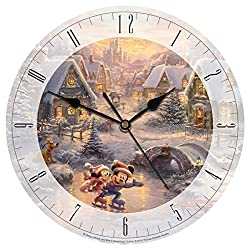 Disney Mickey and Minnie Sweetheart Holiday 12 IN Round Glass Clock by Thomas Kinkade