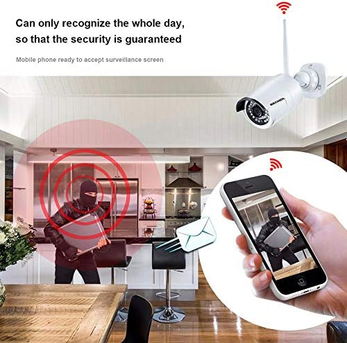 Bechol 1080P HD Wireless Security Surveillance Camera System 4CH WiFi 10.1 inch LCD NVR Monitor,4pcs Outdoor Indoor Waterproof Cameras 100ft Night Vision PIR Motion Detection No Hard Drive