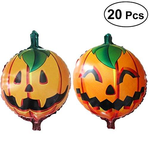 20pcs Halloween Pumpkin Foil Ballons Mylar Balloon Party Favors Supplies Decoration (Double-Sided Pumpkin)