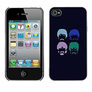 Qstar Arte & diseño plástico duro Fundas Cover Cubre Hard Case Cover para Apple iPhone 4 / iPhone 4S / 4S ( Hipster Beard Moustache Hippie Hairstyle)