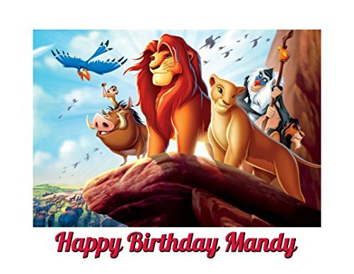 Lion King Image Photo Cake Topper Sheet Personalized Custom Customized Birthday Party - 1/4 Sheet - 79964]()