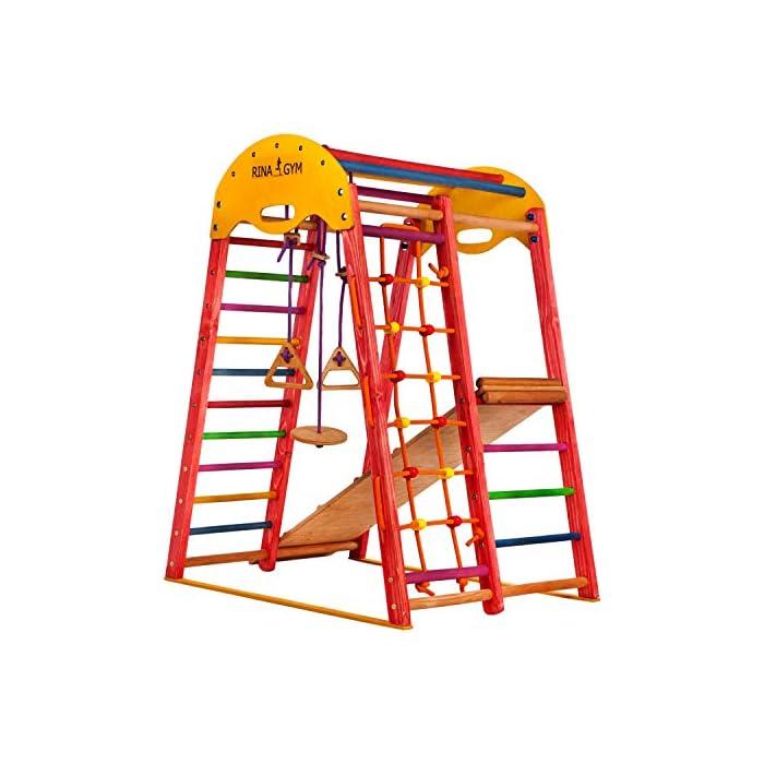 51DszFzkvrL ?TERRENO DE DIVERSIÓN - ¡Los niños se divertirán mucho con este gimnasio! Incluye una escalera sueca, una red para trepar, anillos para columpios y un tobogán ¡Perfecto desatar la energía! ?DESARROLLO FÍSICO - Nuestro gimnasio anima a los niños a mantenerse activos. Las actividades físicas regulares contribuyen a su salud y crecimiento, logrando un corazón, huesos y músculos fuertes. ?PARA COMPARTIR - Este equipo de juegos tiene una capacidad de peso de hasta 60 kg, perfecto para 2 niños de 1 a 5 años y mayores! Brinda un gran modo de mejorar las habilidades sociales a edad temprana.