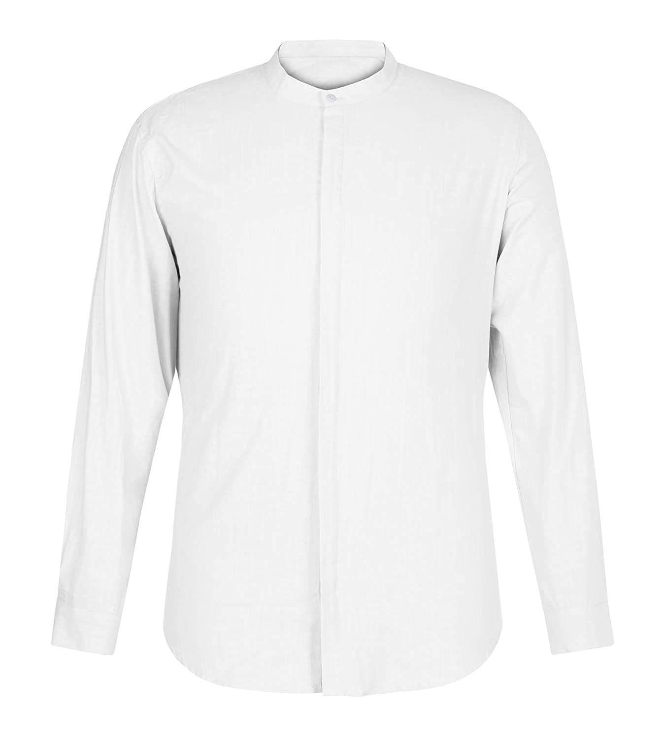 dd32685921a Makkrom Mens Casual Loose Linen Long Sleeve Shirts Button Up Cotton Summer  Beach T Shirt Tops at Amazon Men s Clothing store