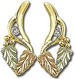 Landstroms 10k Black Hills Gold Diamond Earrings with Leaves - ER770X