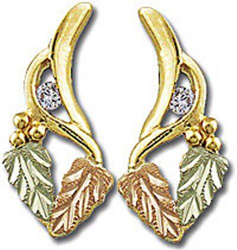 Landstroms 10k Black Hills Gold Diamond Earrings with Leaves - ER770X by Landstroms Black Hills Gold