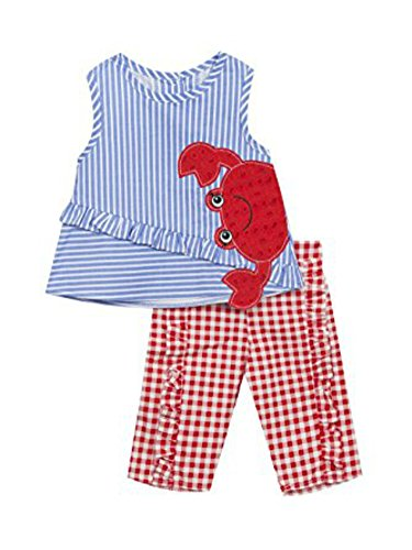 Rare Editions Baby Girls Gingham Crab Legging Set (12 Months) Red Gingham Capris