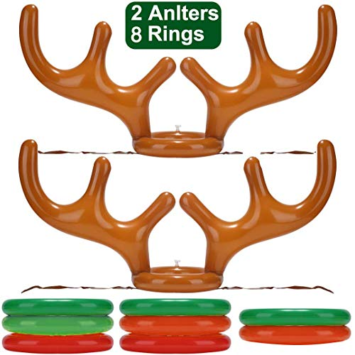 2 Pack Inflatable Reindeer Antler Ring Toss Game for Christmas Halloween Thanksgiving Xmas Party Game Headband Inflatable Toys for Holiday Family School Photo Props Game(2 Antlers, 8 Rings) (Party Best Family Games Christmas)