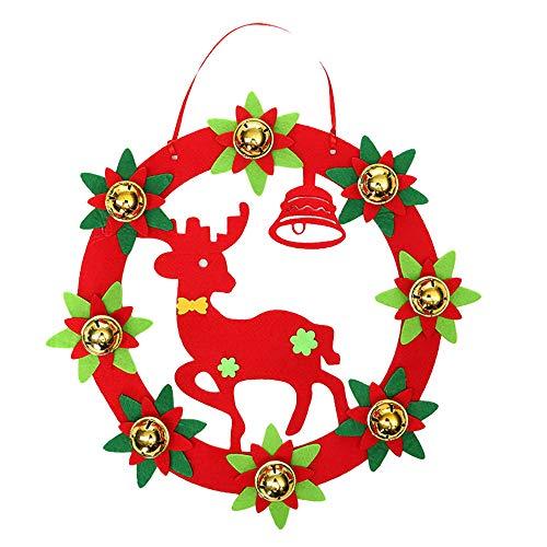 Iusun Christmas Decorations Bell Hanging Xmas Tree Pendants Wreath Door Wall DIY Ornament Wedding Party Holiday New Year Decor (C)