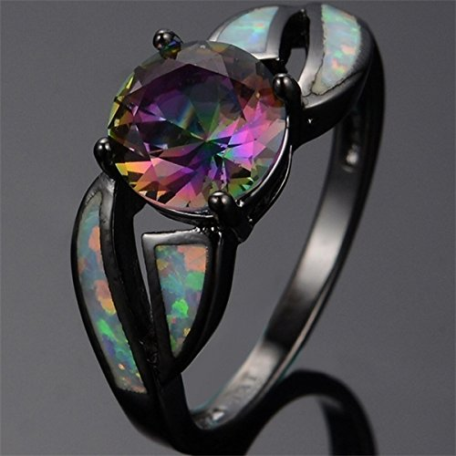 Naomi Classic Multicolor Mystic Rainbow Topaz Stone 10KT Black Gold Filled Rings Trendy White Fire Opal Ring Multicolor 8
