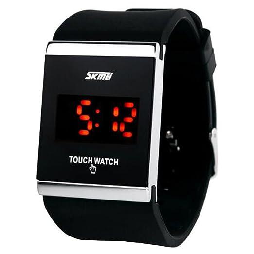 de los hombres negros retro sin tiempo llevó el reloj digital con correa de caucho pantalla táctil estudiantes creativos coreano ver: Amazon.es: Relojes