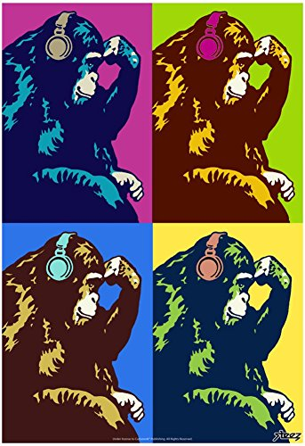 Monkey Thinker Quad Pop-Art Poster