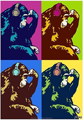 Monkey Thinker Quad Pop-Art Poster