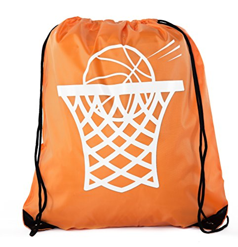 Goodie Bags for Kids | Drawstring Gift Bags with Logo for Bdays, Parties + More - 6PK Orange CA2500PTY Basketball