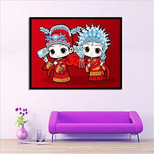Ckiman Full Drill Diamond Painting Cross Stitch New Couple Wedding Celebration Chinese Cartoon Wedding Series 50X40CM