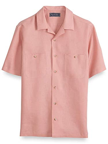 Retro Clothing for Men | Vintage Men's Fashion Paul Fredrick Mens Linen Short Sleeve Casual Shirt $85.00 AT vintagedancer.com