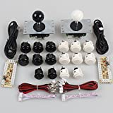 EG Starts Classic 2 Player Sanwa Joystick Arcade Video Games Kit DIY Bundle for PC Joystick & Raspberry Pi RetroPie DIY Projects & Mame Jamma Parts - White + Black Colour Stick + Push buttons