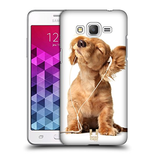 Head Case Designs Young Puppy Listening To Music Funny Animals Protective Snap-on Hard Back Case Cover for Samsung