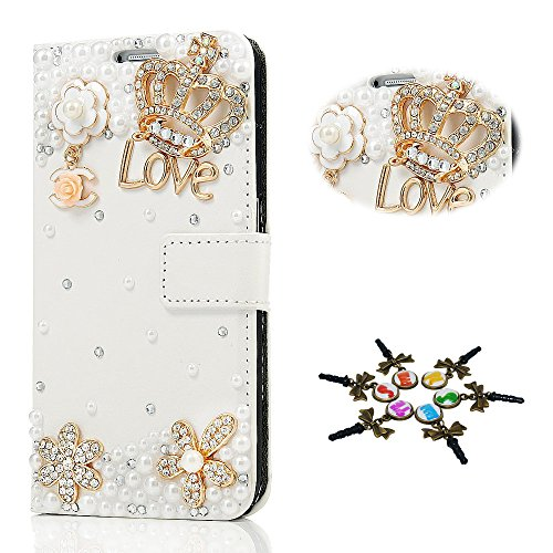 STENES LG G6 Case - 3D Handmade Crystal Crown Flowers Sparkle Wallet Credit Card Slots Fold Media Stand Leather Cover with Retro Dust Plug - - Cell Phone Crown Charms