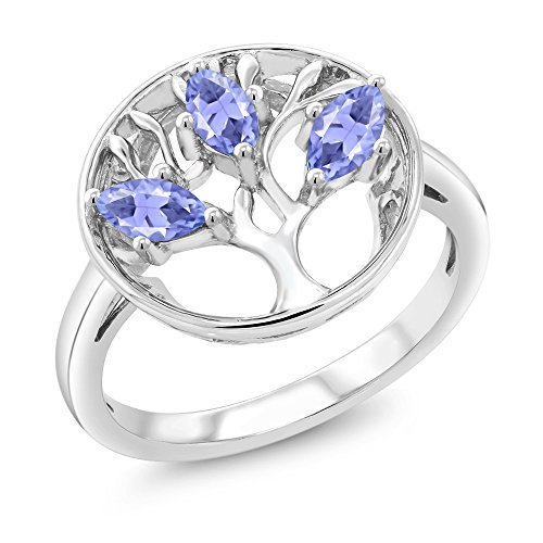 Gem Stone King Blue Tanzanite 925 Sterling Silver 3-Stone Tree Of Life Womens Ring (0.75 Ct Marquise Cut Available 5,6,7,8,9)
