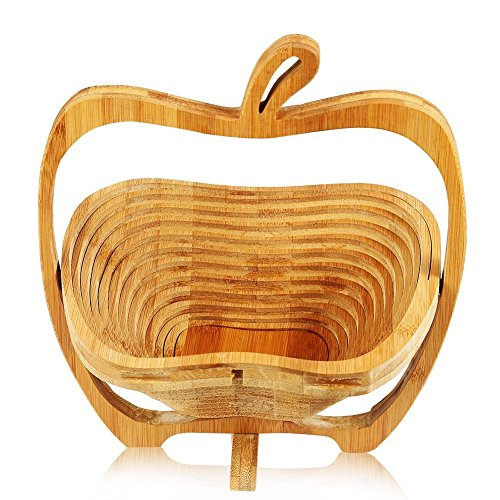 Folding&Collapsible Bamboo Expandle Fruit Basket , Apple Shaped