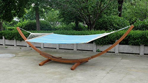 Arched Double Wide Wooden Hammock Swing Day BEd with Quilted Hammock