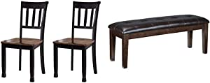 Signature Design by Ashley Owingsville Dining Room Side Chair Set of 2, Black and Brown & Design by Ashley Haddigan Dining Room Bench, Dark Brown