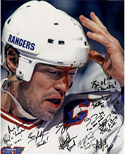 1994 New York Rangers Multi Autographed Signed and Inscribed Mark Messier Blood 16x20 Metallic Photo Autographed Signed in Black 12 Sigs - Authentic Signature