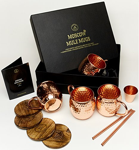 Moscow Mule Mugs Gift Set, 4 Authentic Handcrafted Copper Mugs (16 oz.) with 2 oz. Shot Glass, 4 Straws, 4 Solid Wood Coasters and Recipe - Coaster Glass Four Piece