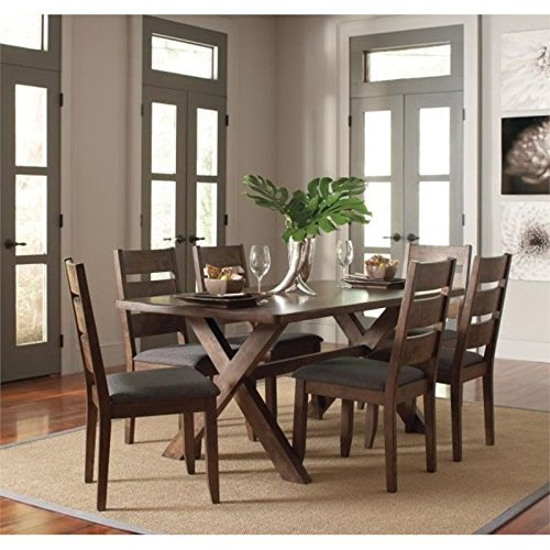 - Coaster Home Furnishings Alston 5-Piece Dining Set with Trestle Table Knotty Nutmeg and Grey