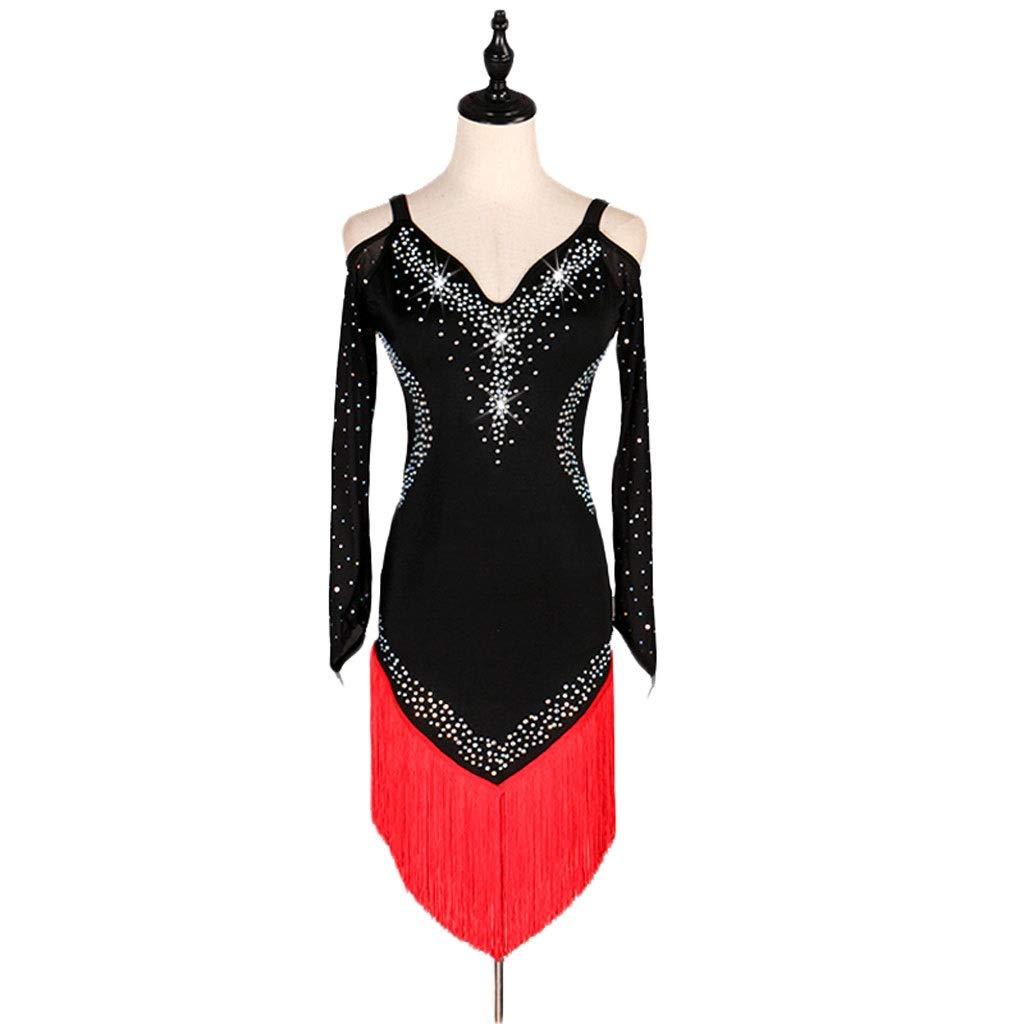 rouge X-grand JTSYUXN Robe De Danse Latine pour Adultes, Costume De Perforhommece à Manches Longues Robe De Concours De Pompon De Danse Latine (Couleur   blanc, Taille   M)