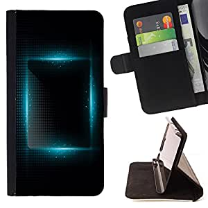 BullDog Case - FOR/Apple Iphone 5 / 5S / - / blue light vibrant black night square /- Monedero de cuero de la PU Llevar cubierta de la caja con el ID Credit Card Slots Flip funda de cuer
