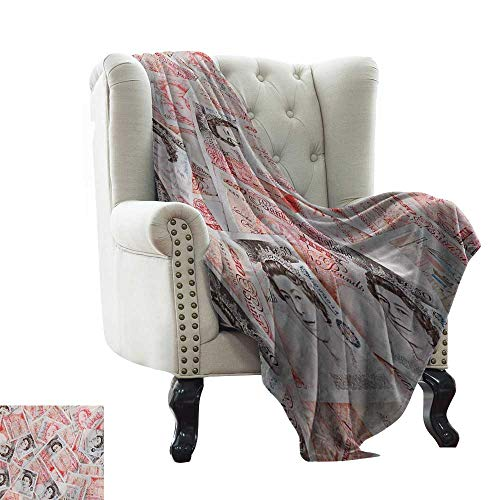 LsWOW Cotton Blanket Money,Bullseye Notes with a Portrait of Queen of England Paper Bills of Great Britain,Scarlet Taupe Indoor/Outdoor, Comfortable for All Seasons 35