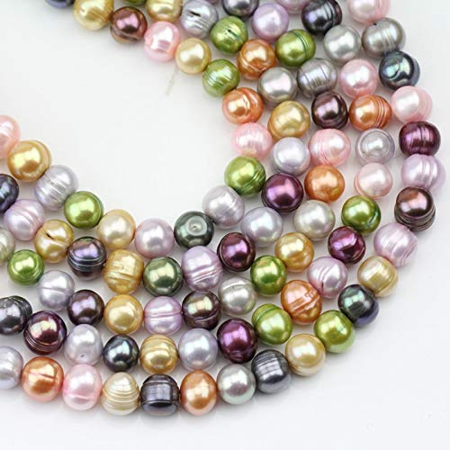 Calvas 8mm Multi Mix Color Natural Freshwater Potato Round Pearl Strand,DIY Wholesale,Large Hole Pearls,1.0mm,1.5mm,1.8mm,2.0mm,2.2mm, (Color:, Item Diameter: Large - Pearl Potato Strand Freshwater