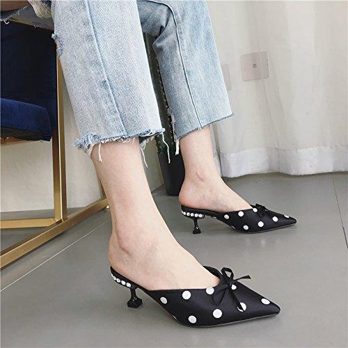 Punto Zapatillas Onda Princesa Point de black Nocturno Club De Arco La Satinado Sweet Mujer Sharp Summer Sexy Zapatos HBDLH Princesa Uvqw00