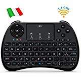 Rii Mini H9+ Wireless (layout ITALIANO) - Mini tastiera retroilluminata con mouse touchpad per Smart TV, Mini PC, TV Box, Console, Computer - VERSIONE ITALIANA