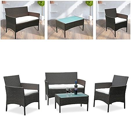 Hengda® Muebles de Jardín Ratán Mesa de Café Sillones mimbre ...