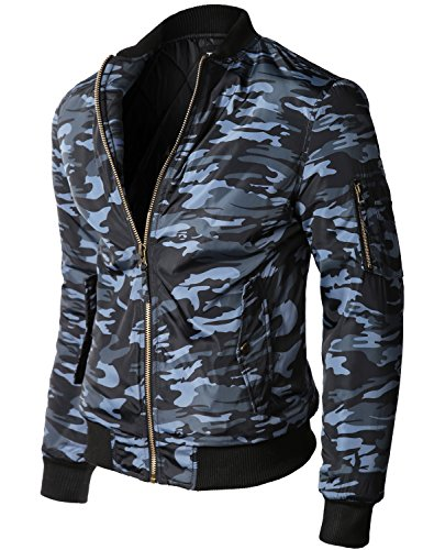 Warm Comfortable Waist Length Bomber Jackets ,005-camo Navy ,X-Large