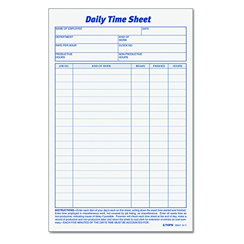 Tops Job Cards (TOPS Daily Employee Time And Job Sheet, 6 x 9.5 Inches, 100 Sheets per Pad, 2 Pads/Pack (30041))
