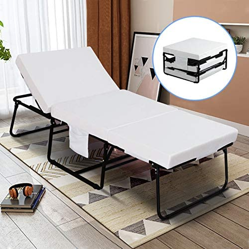 mecor Foldable Folding Bed, Rollaway Guest Bed with 3.2 Inch Removable Mattress Side Pocket – Heavy Duty Metal Frame with Adjustable Head Incline 0 -175 -No Assembly Required-Twin Size