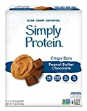 SimplyProtein Crispy Bar Singles (Peanut Butter Chocolate). Clean and Light Crispy Bars with Plant Based Protein (32 Pack).