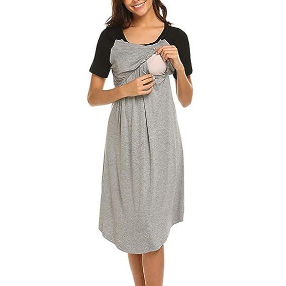 Daringjourney Vestido de Pijama de Lactancia Materna de Maternidad Corta para Mujer Vestido Suelto de premamá