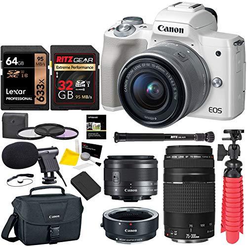 Canon EOS M50 Mirrorless Digital Camera (White) with EF 75-300mm III Lens, U3 Memory Card Bundle