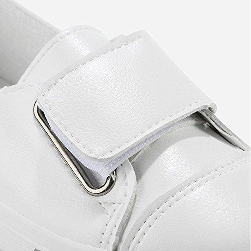 Superficie Selvaggio Basse Bianche Superficiale da Scarpe in Scarpe Pedale Velcro Stile Bianca Nuovo Bocca Pelle Sandales Scarpe Moda FwqPw1U