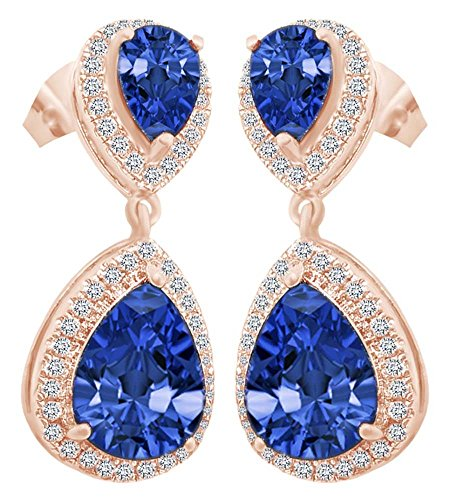 Pear Cut Simulated Blue & White Sapphire Drop Earrings In 14K Rose Gold Over Sterling Silver (Drop Gold Sapphire)