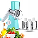 Vegetable Slicer, Fitnate Hand Crank Stainless Steel Fruit Vegetable Shredder Dicer Cheese Cutter with 3 Changeable Stainless Steel Rotary Blades Drums - Blue