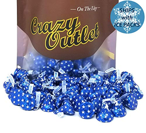 (CrazyOutlet Pack - Hershey's Kisses Blue Star Foils, Milk Chocolate Candy Bulk, 2 lbs)