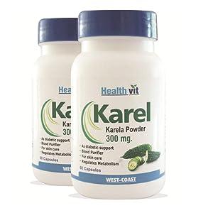 Healthvit Karel Karela Powder 300 mg - 60 Capsules (Pack of 2)