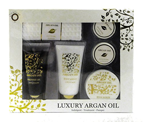Price comparison product image Luxury Argan Oil Bath Spa Set Shower Gel Body Lotion Scrub 2 Bath Fizzers 1 Waffle Face Towel
