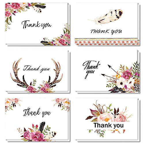 (Boho Thank You Cards, 24 Pack Floral Feather Thank You Notes, 6 Chic Design for Valentine's Day, Bridal Shower, Wedding, Baby Shower, Blank Inside with Envelopes and Stickers,)